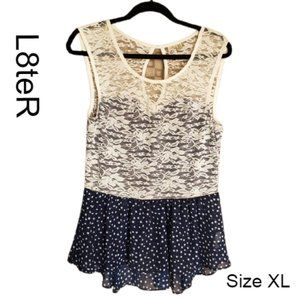L8teR Navy Lace Peplum Tank Top XLG NWOT